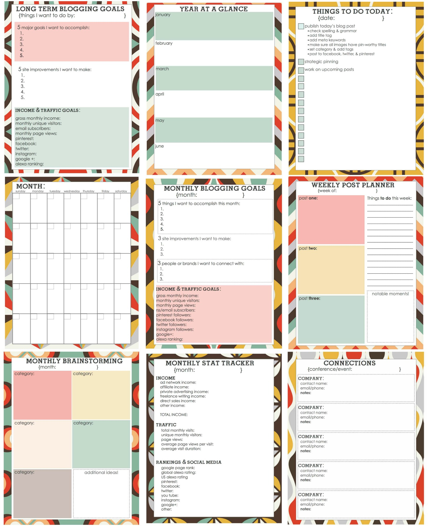 free printable blog planner living well spending less