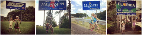 All the states we visited on our family road trip: Tennessee, Mississippi, Missouri and Florida.