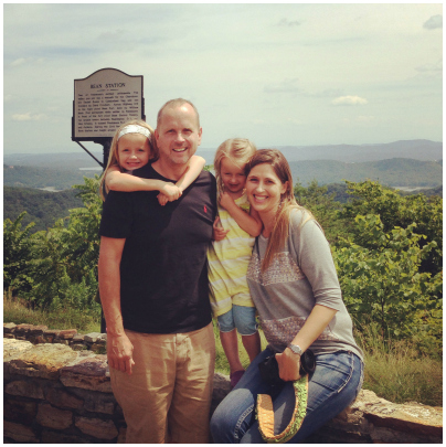 Our family at a scenic overlook during our road trip.