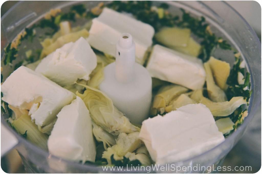 Add in artichokes and cream cheese to food processor