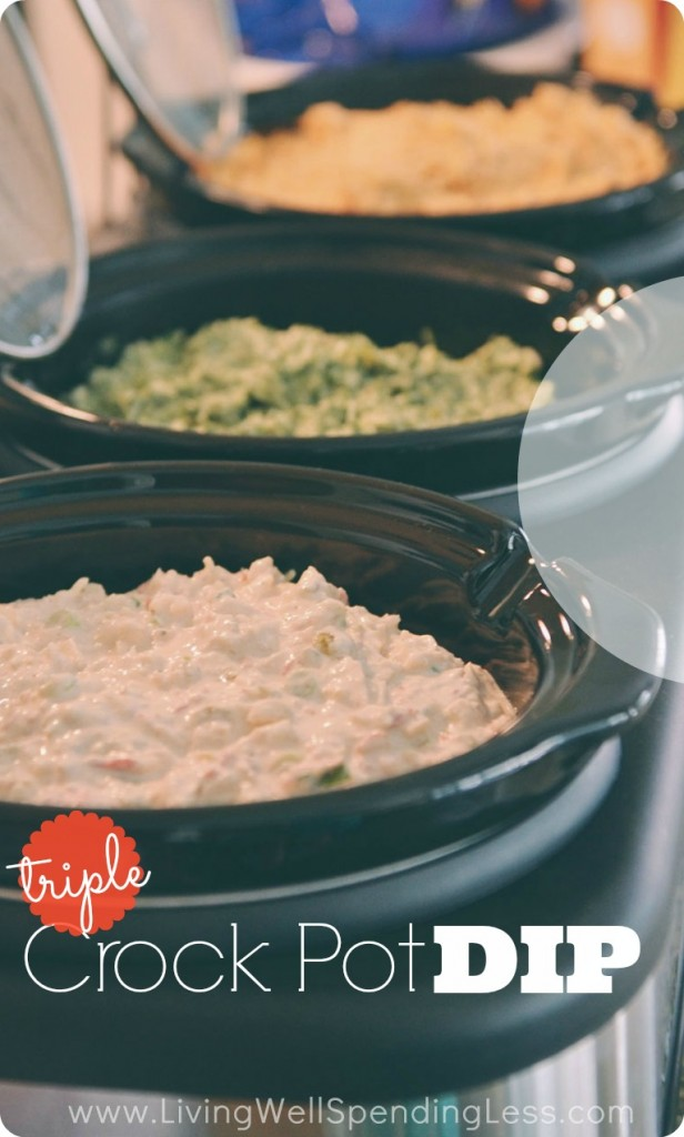 Triple Crockpot Dips.  Got a triple crockpot to use for parties but aren't quite sure how to fill it?  These three delicious hot dips give an awesome mix of flavors and make entertaining practically effortless!
