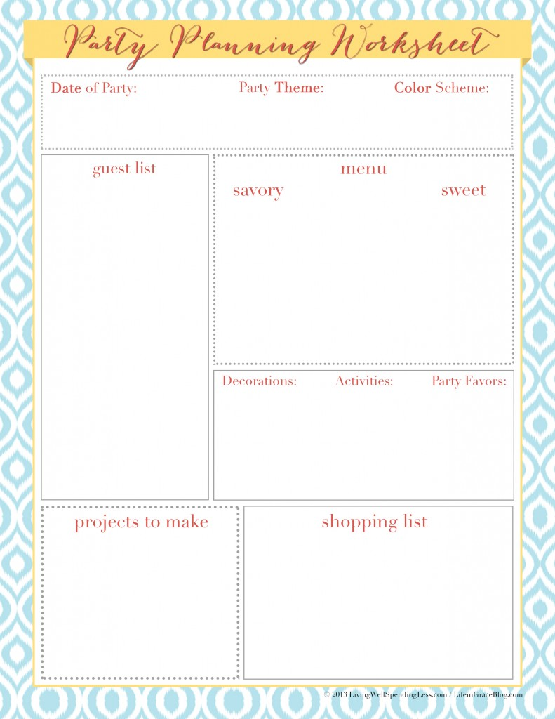 Heart of Hospitality | Free Downloads | Freebies | Printable Party Planning Worksheet | Party Theme Ideas | Party Prep DiY Projects | Party Recipes