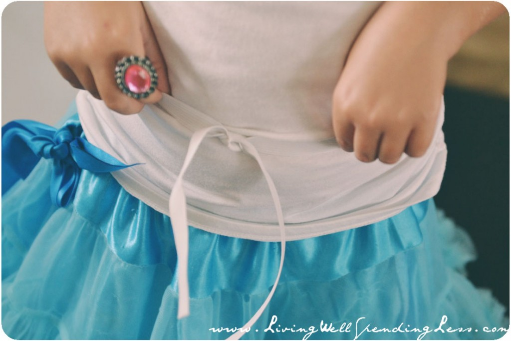 Measure the elastic around your child's waist so you can ensure the full tulle skirt fits.