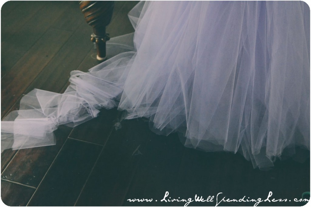 The tulle skirt can be trimmed to adjust the length as needed.