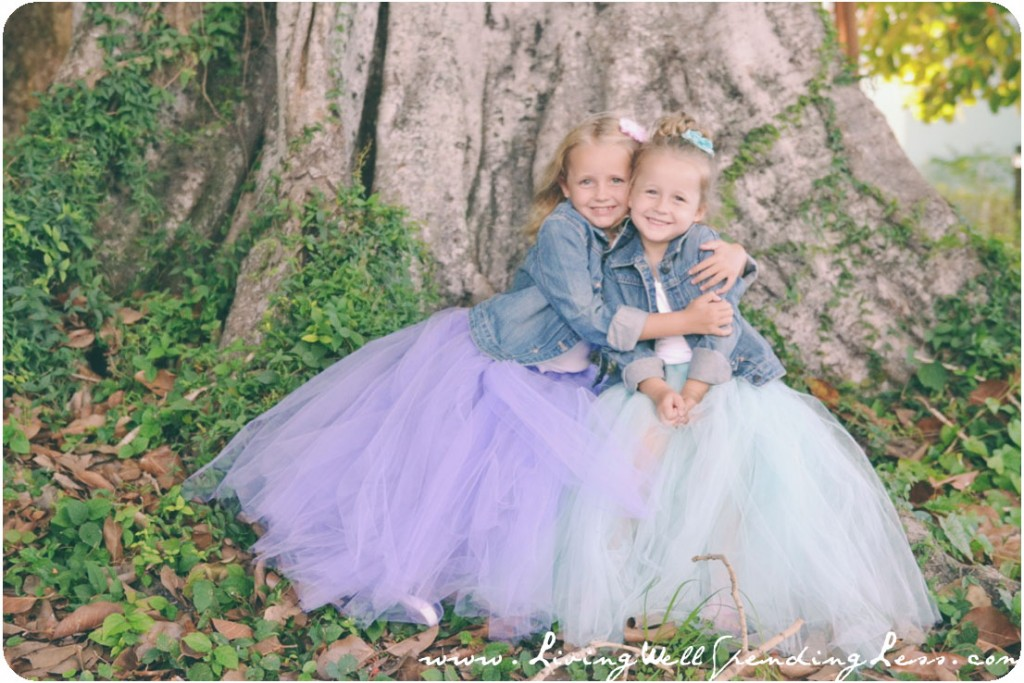 These girls look super sweet in their matching full tulle skirts, bows and cute denim jackets.