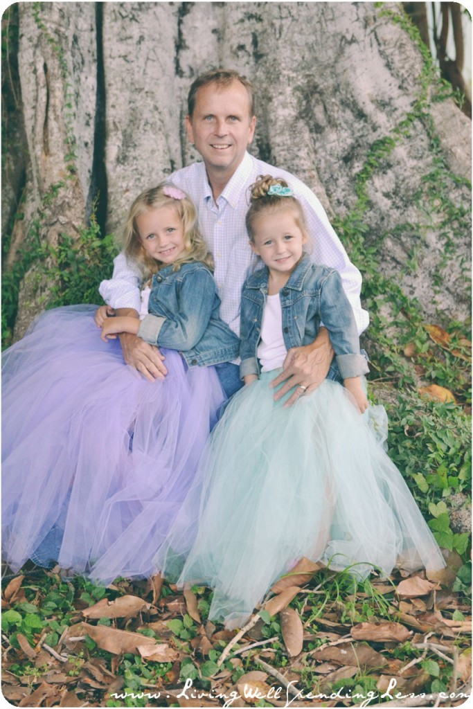 Tulle skirts are a beautiful princess look for family photos, like this one of my girls with their dad.