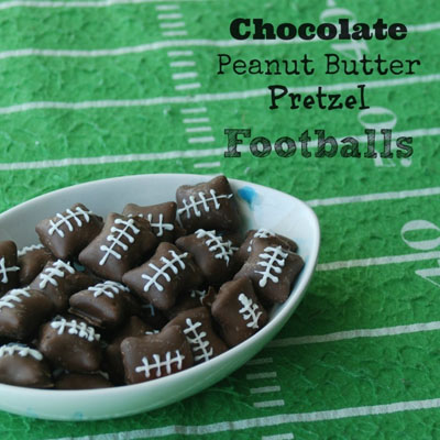 Chocolate Peanut Butter Pretzel Footballs