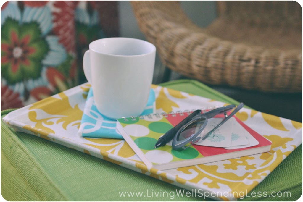 Assemble your personal items on the finished fabric covered tray.