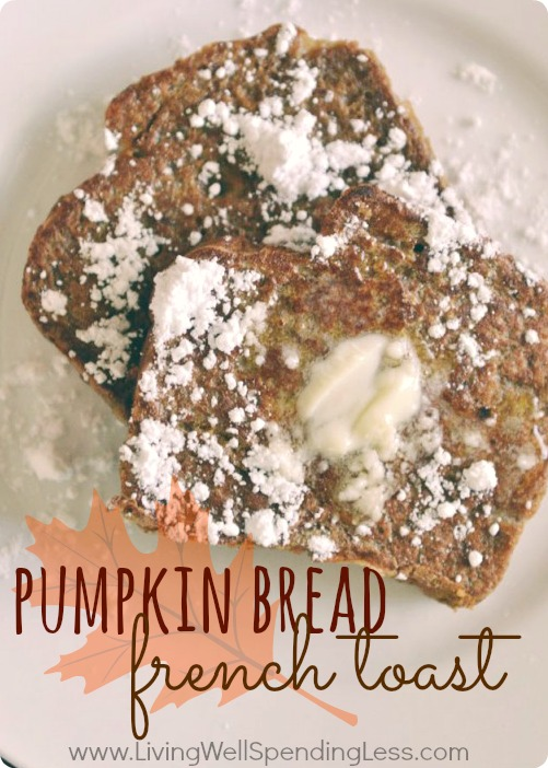 Pumpkin Bread French Toast.  Ever wished you could have pumpkin pie for breakfast?  This amazingly decadent Pumpkin Bread French Toast is surprisingly good-for-you.  Seriously the best french toast I have ever had & perfect for fall!