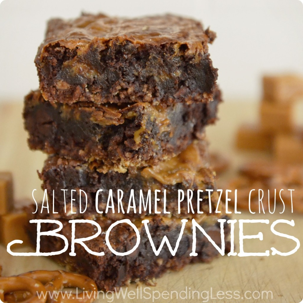 Salted Caramel Pretzel Crust Brownies.  Oh my goodness, these might be the best brownies on earth!  So easy to throw together using boxed brownie mix!  YUM!