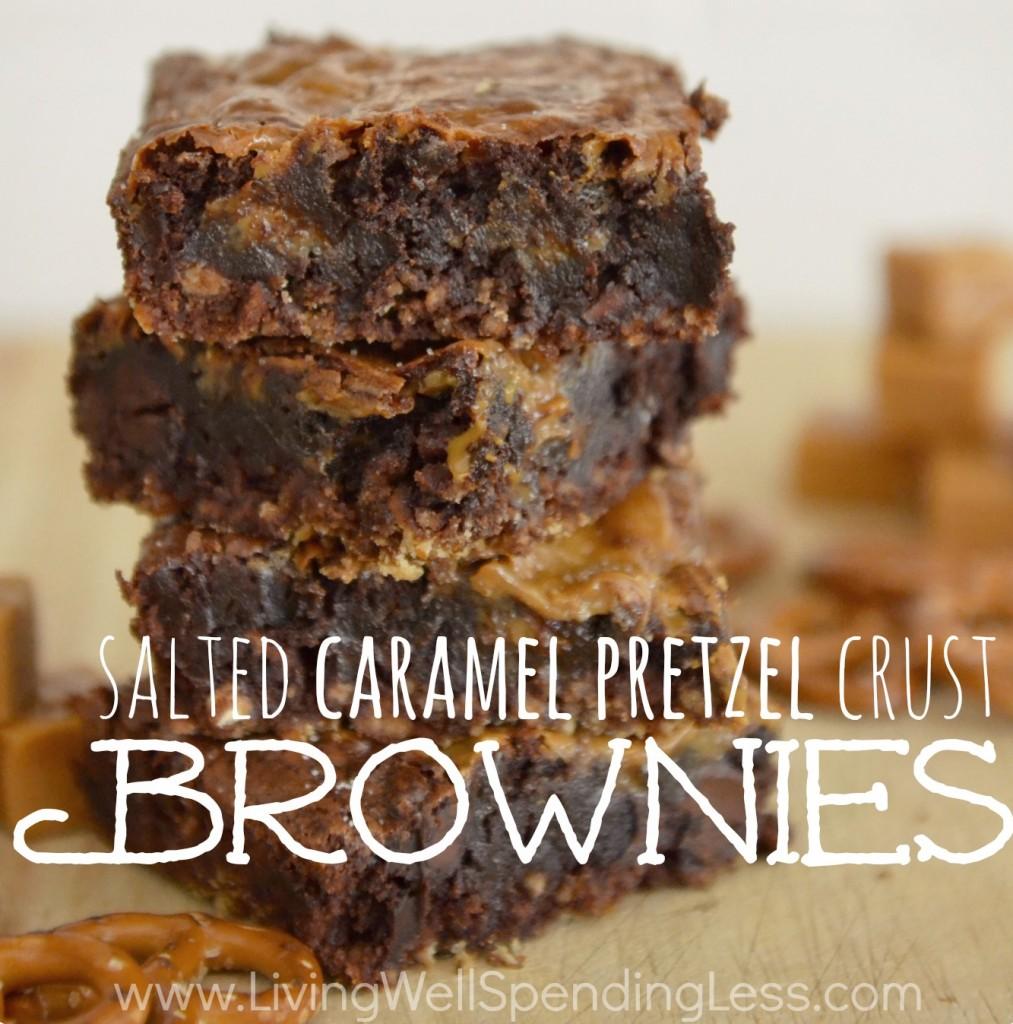 Salted Caramel Pretzel Crust Brownies | Caramel Brownies | Salted Caramel | Pretzel Brownies | Brownie Recipe | Salted Caramel Brownie | Pretzel Brownie Bars