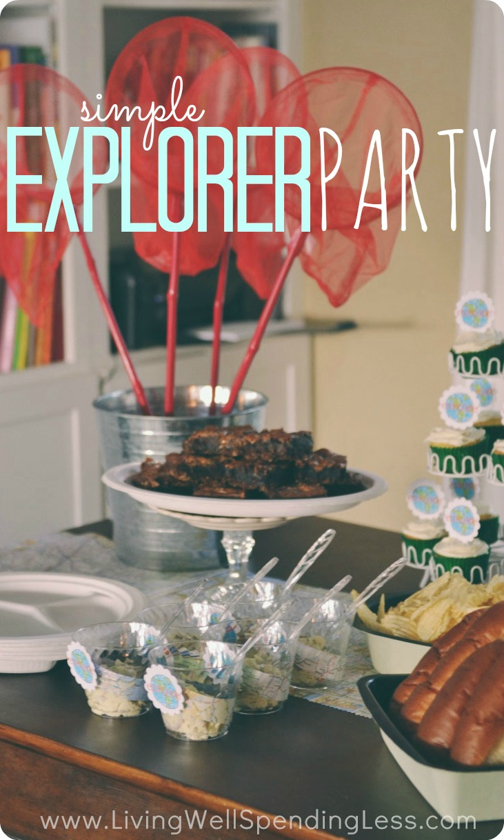 Simple explorer party. Cute & thrifty party theme idea that would work for a girl or boy. Love the nature scavenger hunt activity!