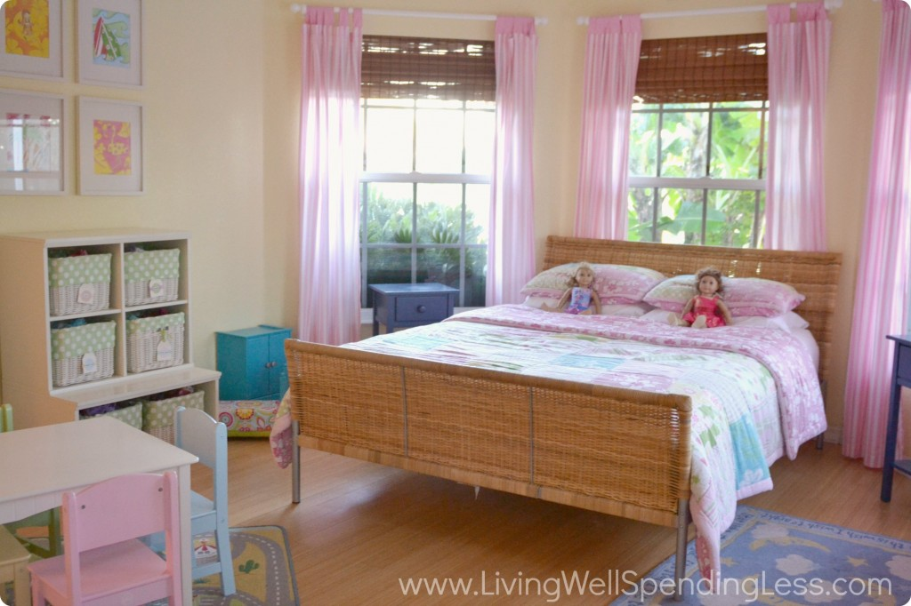 My daughters' room now is neatly organized with fewer toys. Their pink and yellow bedroom is clean and clutter free.