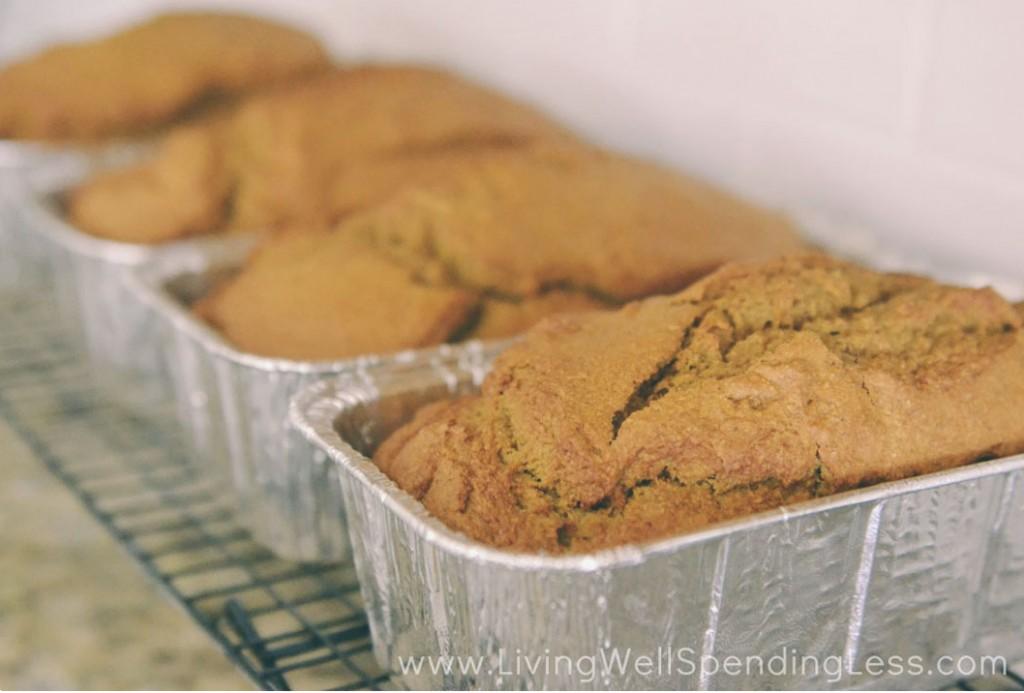 Let baked pumpkin bread loafs cool on rack.
