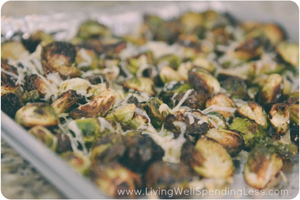 Roasted Brussels sprouts with Parmesan--a great side dish for dinner!