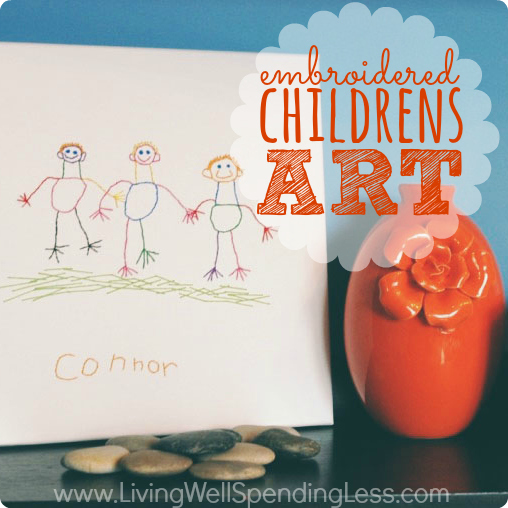 Embroidered Children's Art Canvas | Holiday Art Project