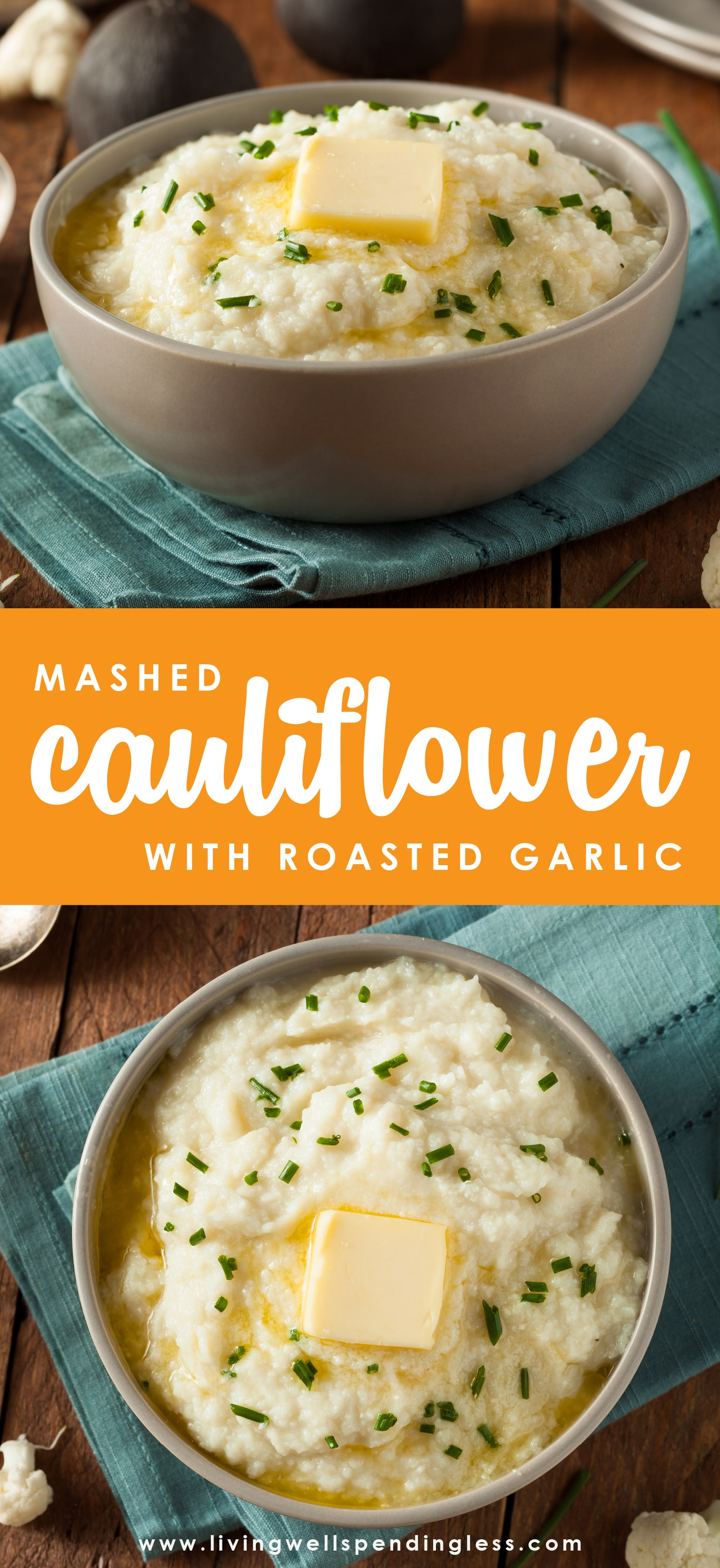 This roasted garlic mashed cauliflower recipe gives you all of the flavor with none of the guilt (and none of the carbs!) Whips up in just minutes! And it's Keto-friendly too!  Easy Mashed Cauliflower Recipe | Keto Mashed Cauliflower | Roasted Garlic Mashed Cauliflower Recipe | Easy Roasted Garlic Mashed Cauliflower | Best Roasted Garlic Mashed Cauliflower