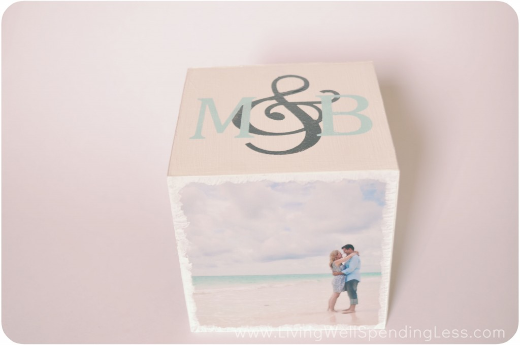 This DIY photo block was made for a couple; it includes their honeymoon pictures and their initials from their wedding invites.