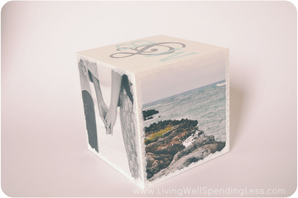 You can use any photos you'd like on this DIY photo block.
