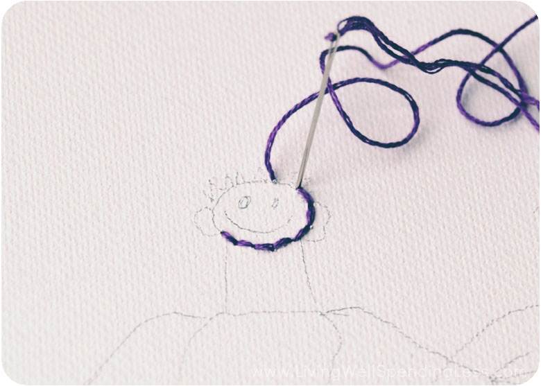 Start embroidering around the outlined drawing