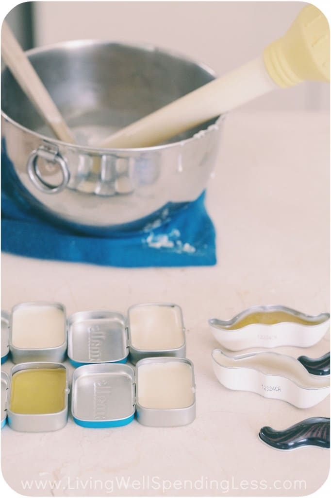 Use kitchen baster to transfer beeswax mixture to containers.