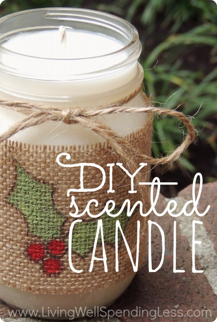 Awesome step-by-step tutorial for making a homemade scented candle in a mason jar.  Smells better (and much cheaper) than those expensive store-bought candles.  Great gift idea!