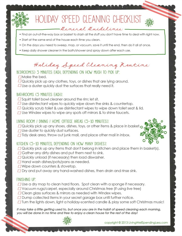 Holiday Cleaning Checklist Save Free Holiday Speed Cleaning Printable Checklist. Love this! Practical tips for keeping your house
