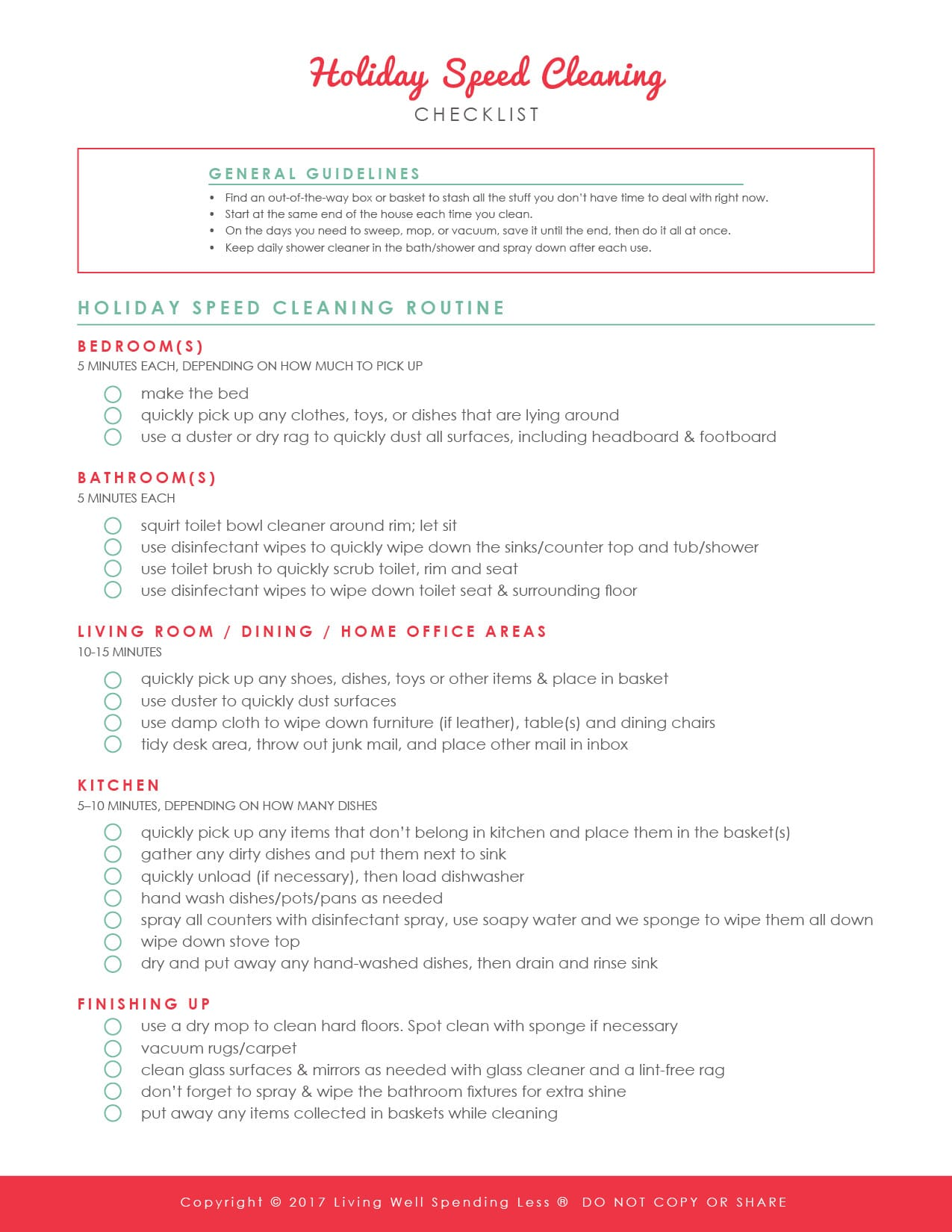 The Holiday Speed Cleaning Checklist | Free Printable from Living Well, Spending Less