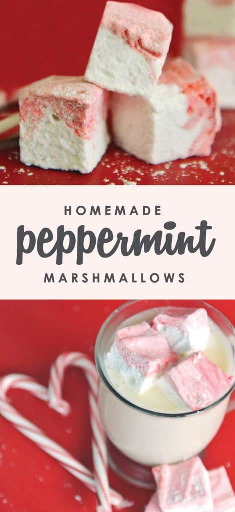These homemade peppermint marshmallows are a fun twist on the ordinary marshmallow. The perfect addition to a cup of hot chocolate.