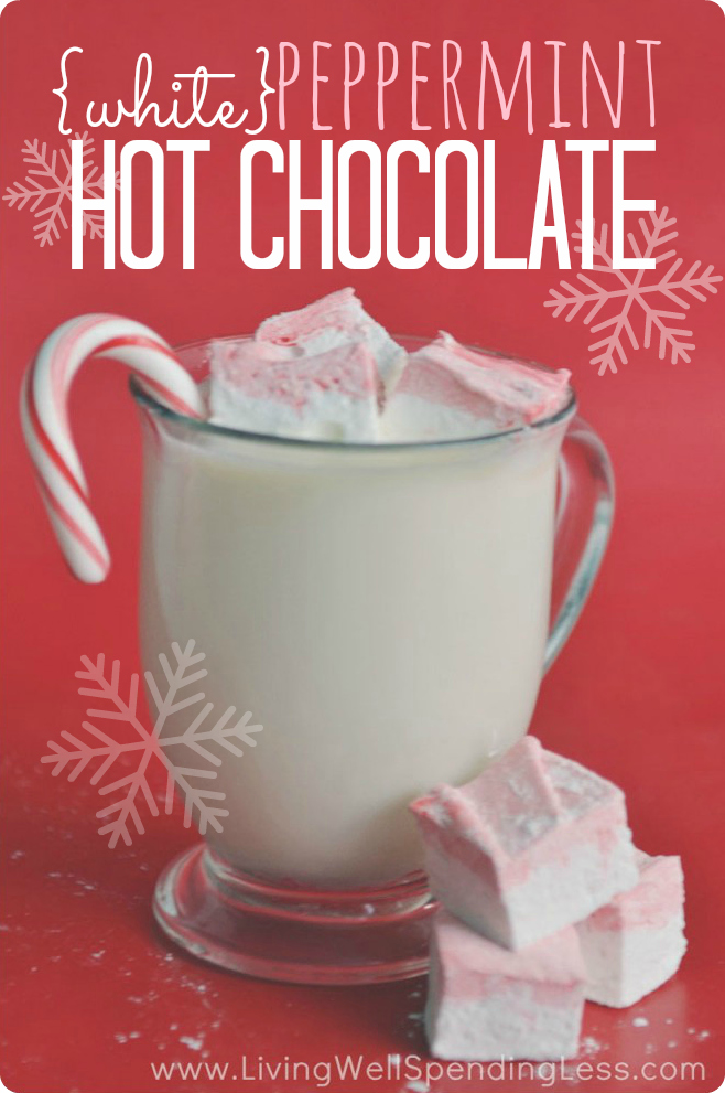 White Peppermint Hot Chocolate | Holiday Treat | CopyCat Starbucks Peppermint White Hot Chocolate | Recipe | White Chocolate | Peppermint | Holiday Chocolate Drinks