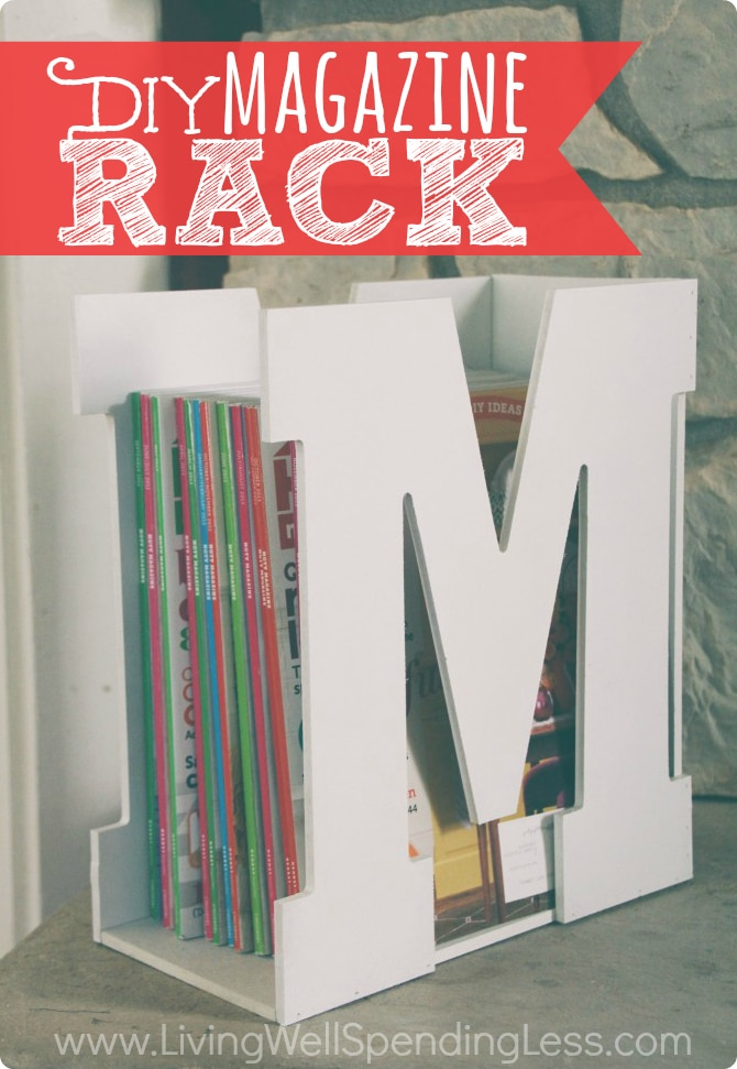 You won't believe how quick & easy it is to make this darling M is for Magazine rack using precut wood letters & a piece of scrap wood!  A stylish & original gift idea that is sure to be a hit!