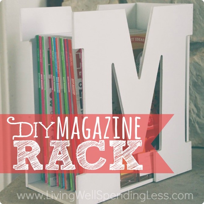 You won't believe how quick & easy it is to make this darling M is for Magazine rack using precut wood letters & a piece of scrap wood!  A stylish & original gift idea that is sure to be a hit