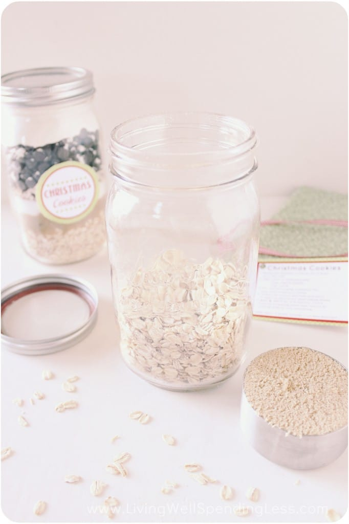 Add the dry ingredients to a mason jar, layering them to make them look extra delicious!