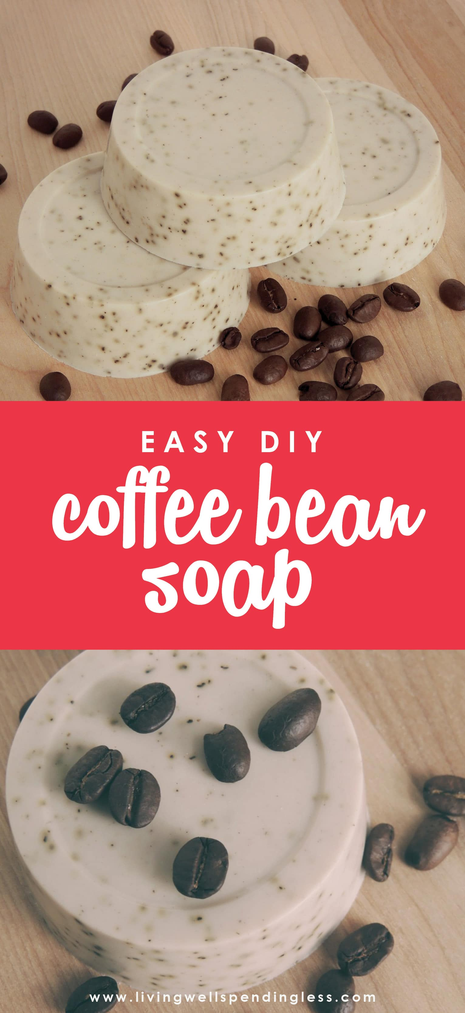 Mmmmm....cofffee....You won't believe how easy it is to whip up this luscious homemade coffee bean soap--just 3 ingredients and 15 minutes is all you need! A perfect gift for the coffee lover in your life, or just a great way to start your day!