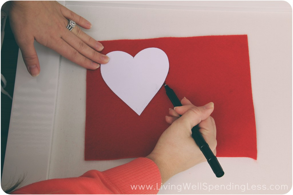 Trace a heart out on a piece of felt or fabric