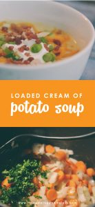Looking for a hearty, creamy soup recipe? This loaded cream of potato soup is the perfect comfort food recipe for any week night meal. Cozy up & enjoy!