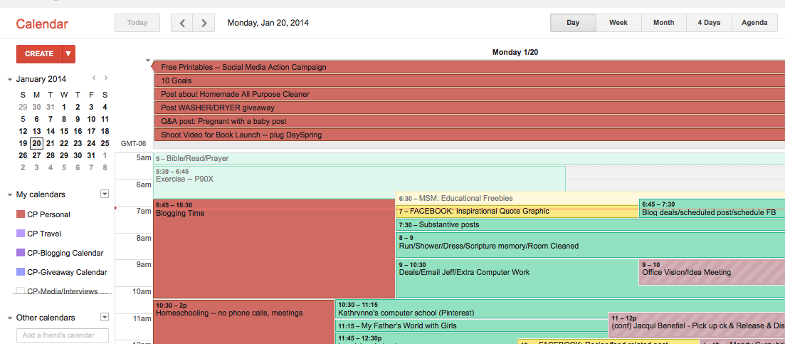 My Google calendar looks full, but I use color coding to keep it organized.