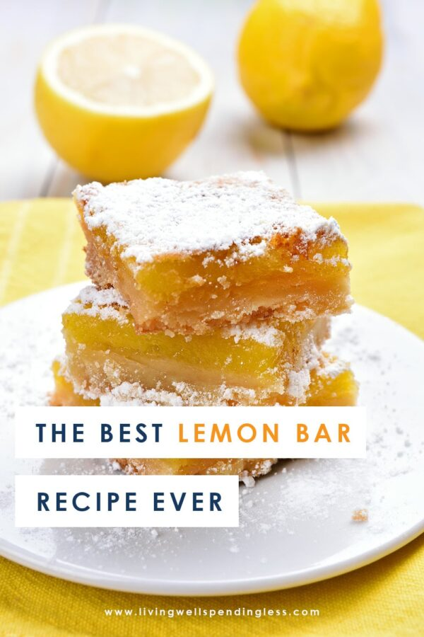 Craving something decadent? This is the best lemon bar recipe ever! They are super easy to make and are the perfect balance of citrus and sweet. Everyone will love them! #lemonbars #lemondessert #lemon #desserts #dessertrecipes #easyrecipes #easydessertrecipes