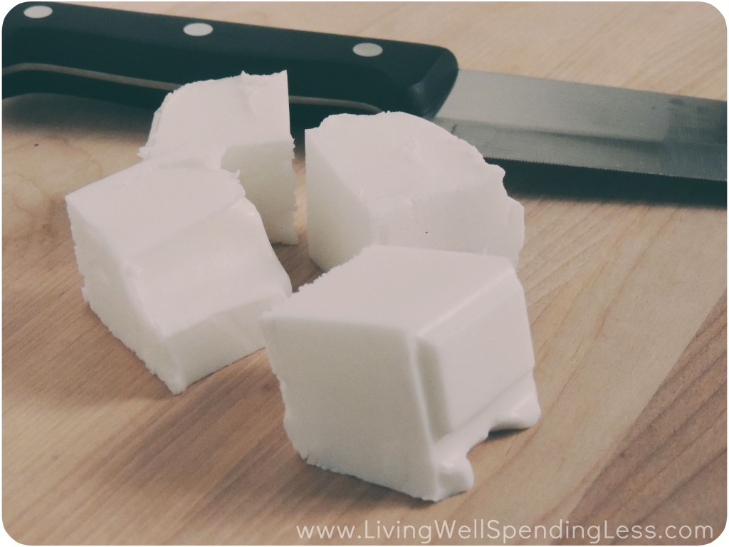 Cut the soap into chunks using a kitchen knife.