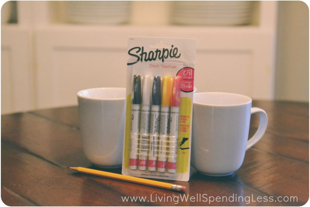 Gather mugs and oil-based Sharpies to make these adorable DIY Sharpie mugs.