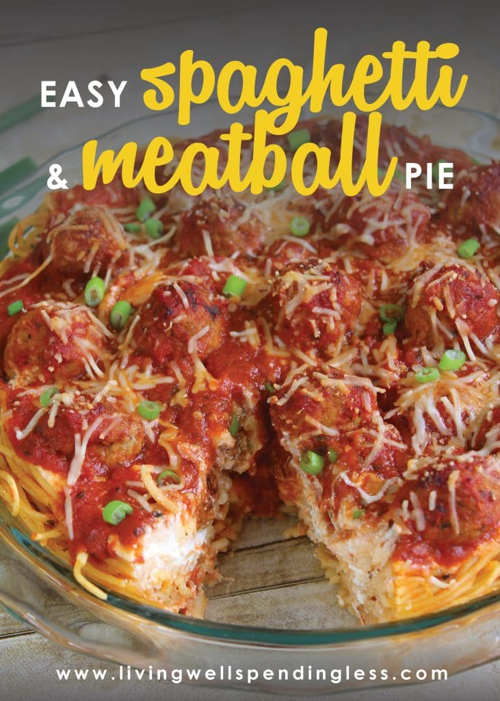 This Easy Spaghetti and Meatball Pie only requires 5 simple ingredients! All that you probably already have on hand. This is a great week night meal for those busy nights when you don't know what to cook.