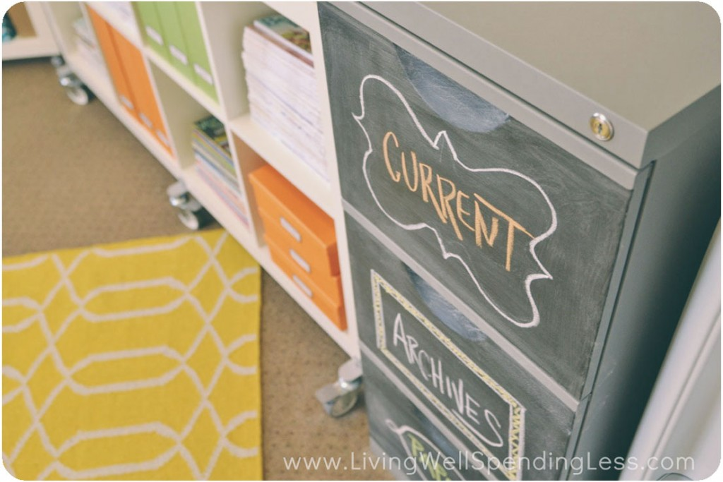 Chalkboard paint is an easy solution for decorating cute file cabinets.