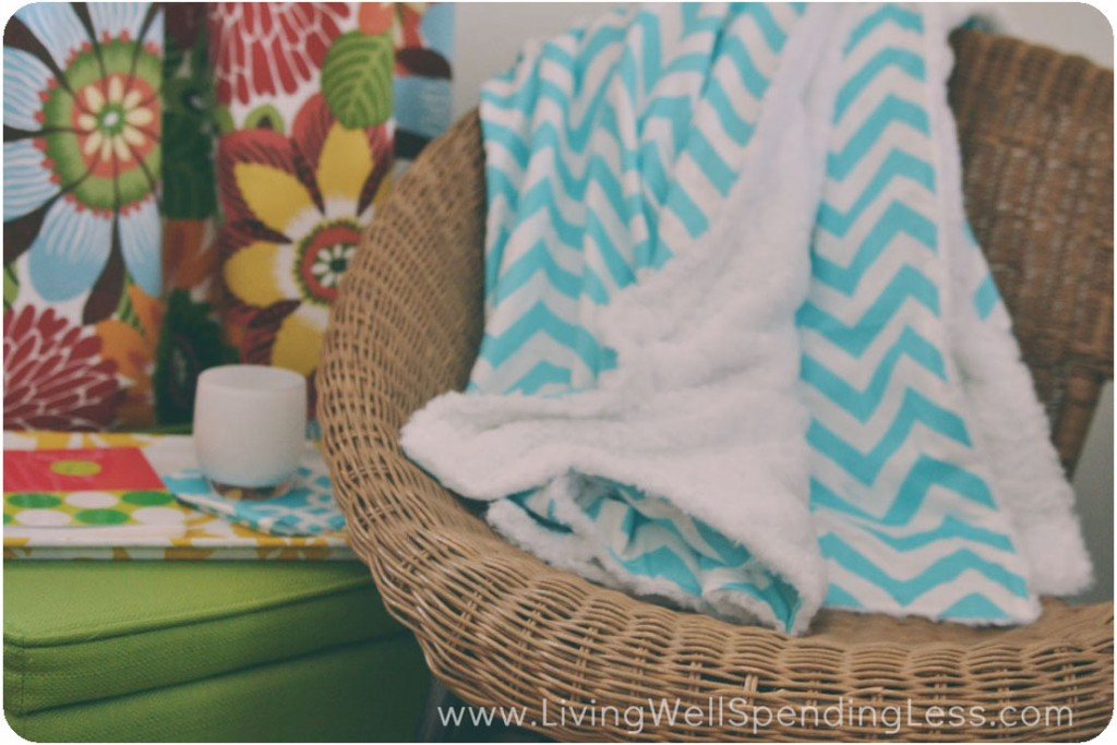 A super soft chevron throw keeps me toasty warm in my office while I work.