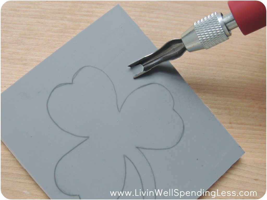 To cut out your stamp, cut a perimeter around the design to give yourself a little buffer to avoid any mistakes.