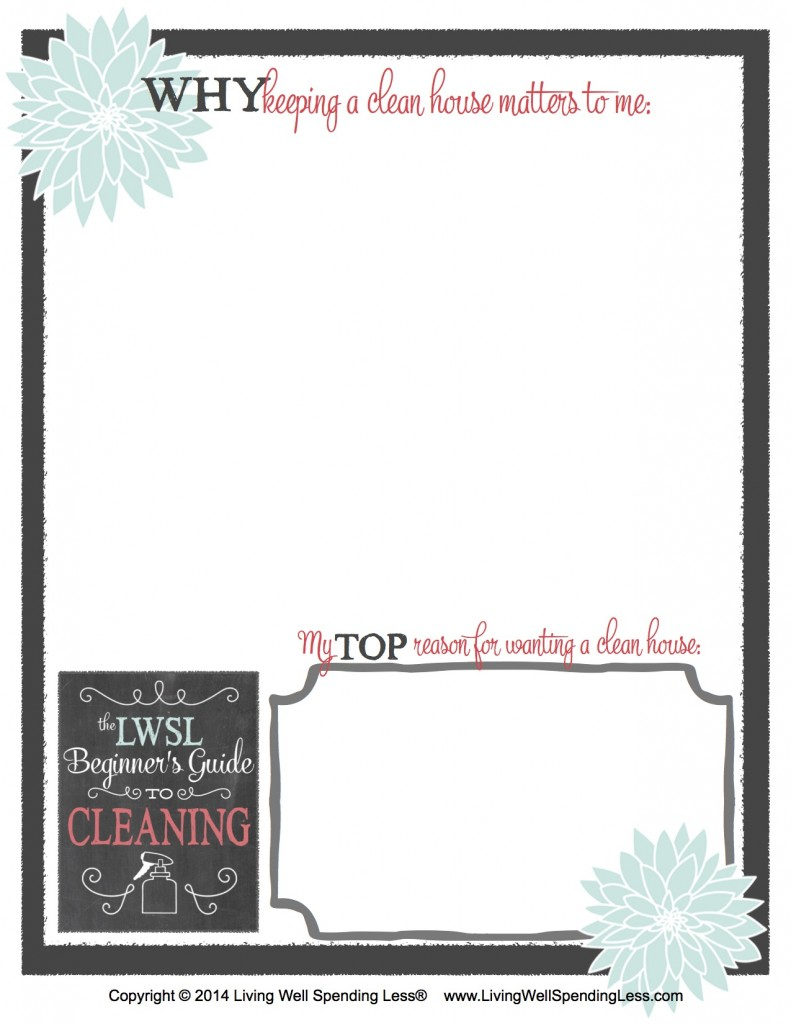 Printable journal prompt to remind you why keeping a clean house matters to you.