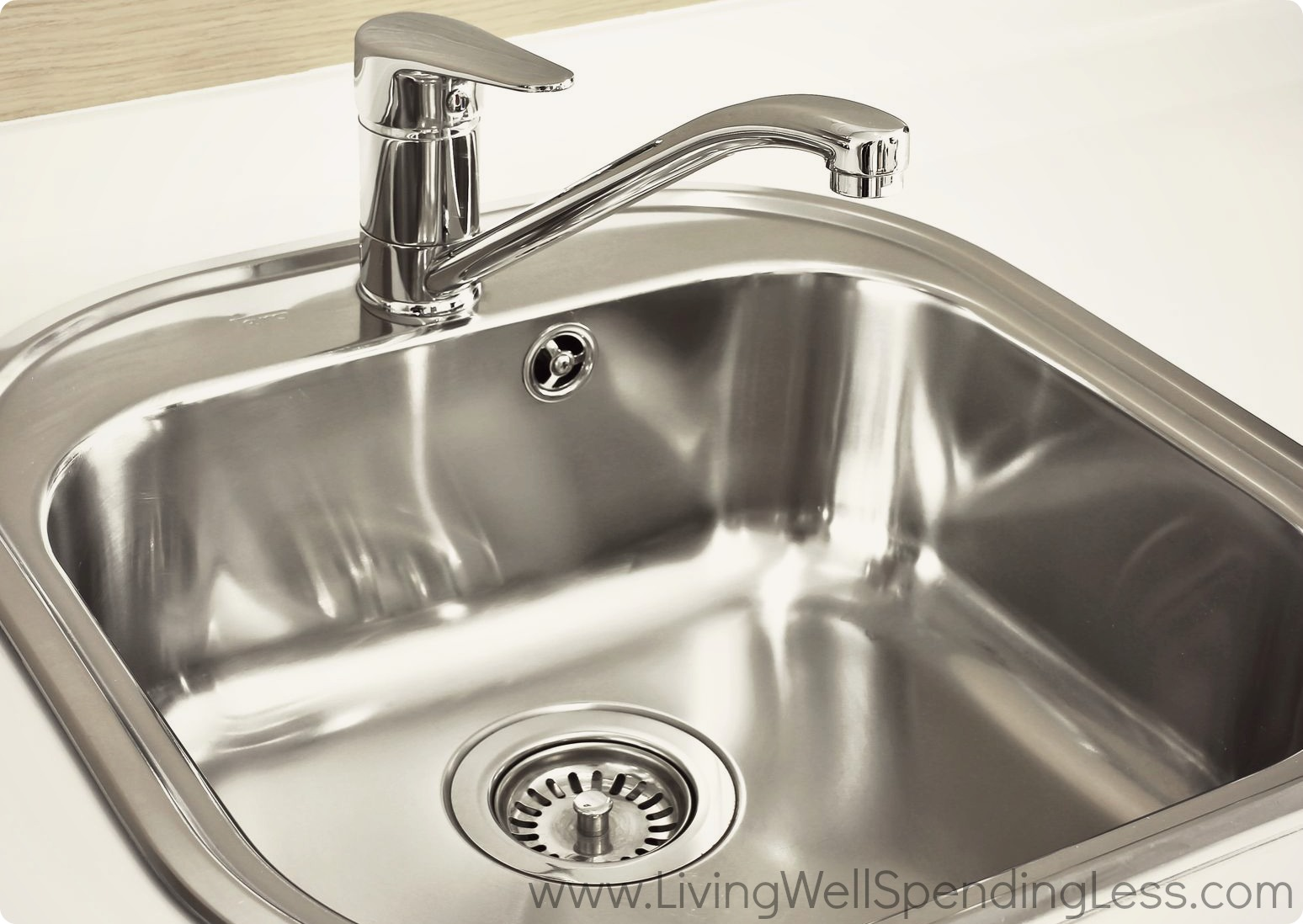 Clean kitchen sink living well spending less for How to clean bathroom drain