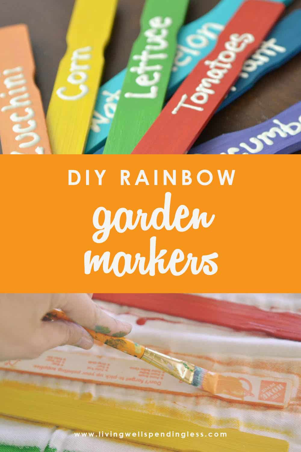 Looking for a cute and fun way to decorate your garden and remember what you planted where? These DIY Rainbow Garden Markers are adorable and a snap to make! #gardenmarkers #gardenmarkerideas #gardenmarkerhacks #gardening #diyhomedecor #diygarden