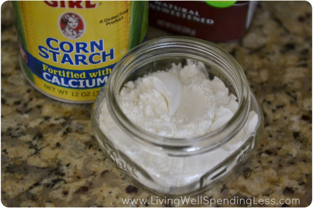 Place 1/4 cup of corn starch into your container.