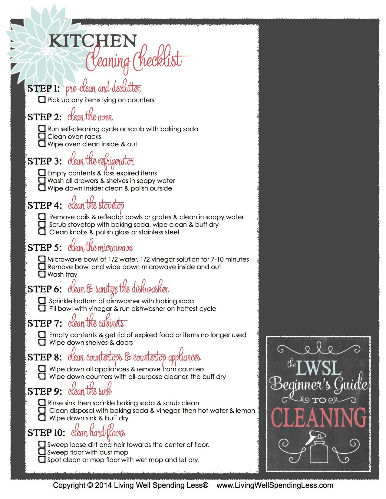 kitchen cleaning checklists