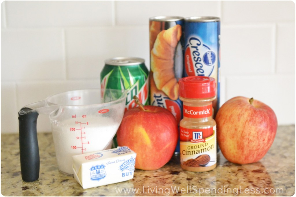 Assemble the ingredient for these Mtn. Dew dumplings: sugar, butter, apples, cinnamon, crescent rolls and Mtn. Dew